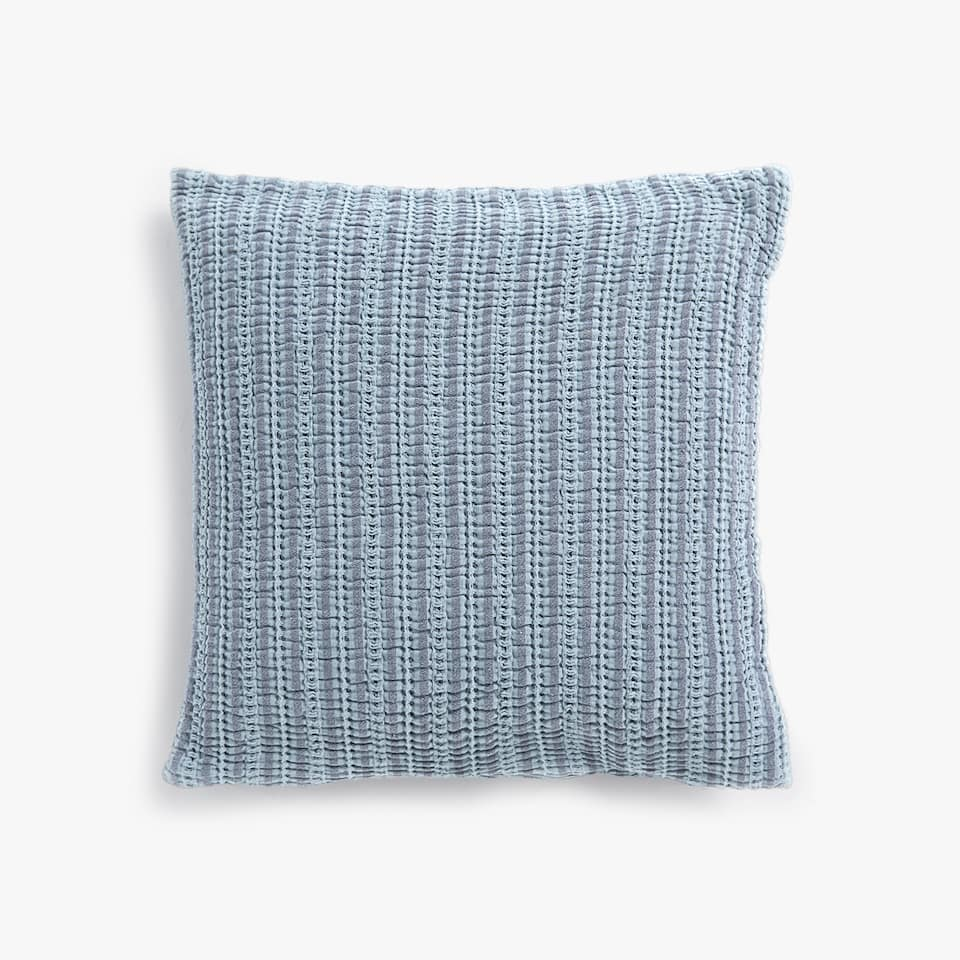 STRIPED WAFFLE-EFFECT COTTON CUSHION COVER