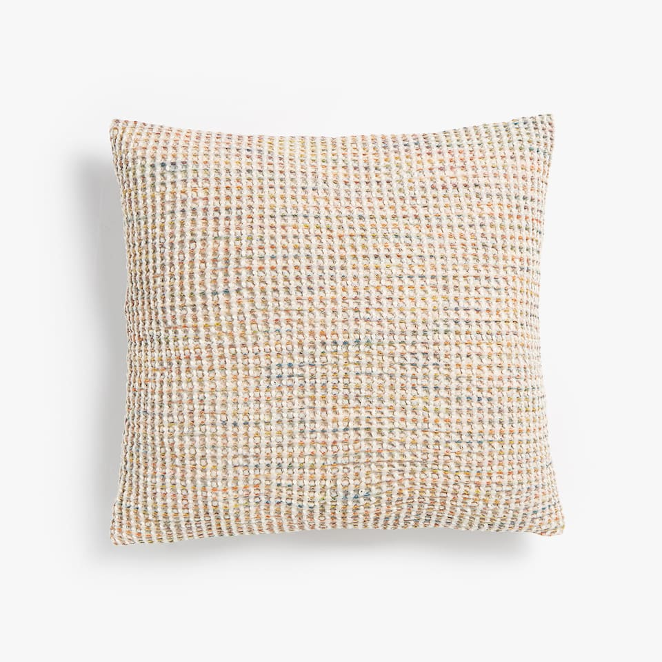 WAFFLE-EFFECT DYED THREAD COTTON CUSHION COVER