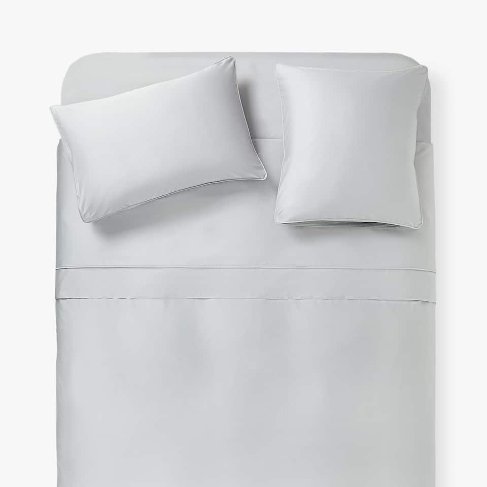 GREY SATEEN DUVET COVER WITH PIPING