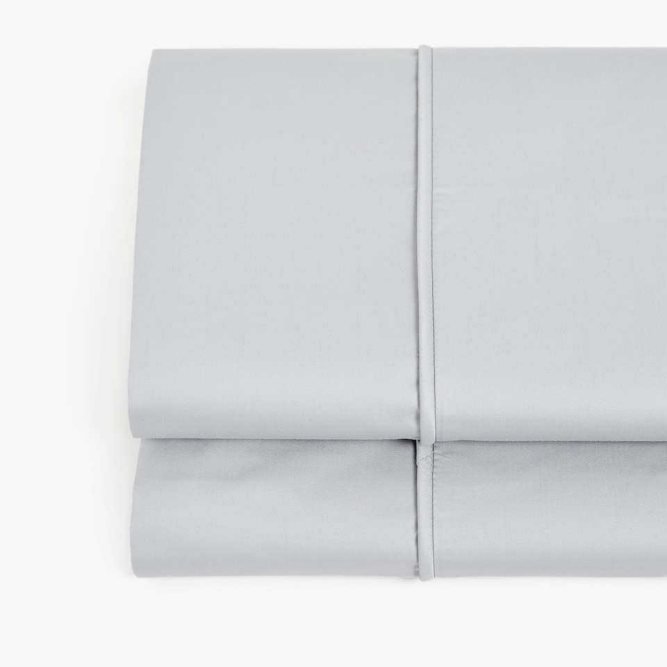GREY SATEEN FLAT SHEET WITH PIPING