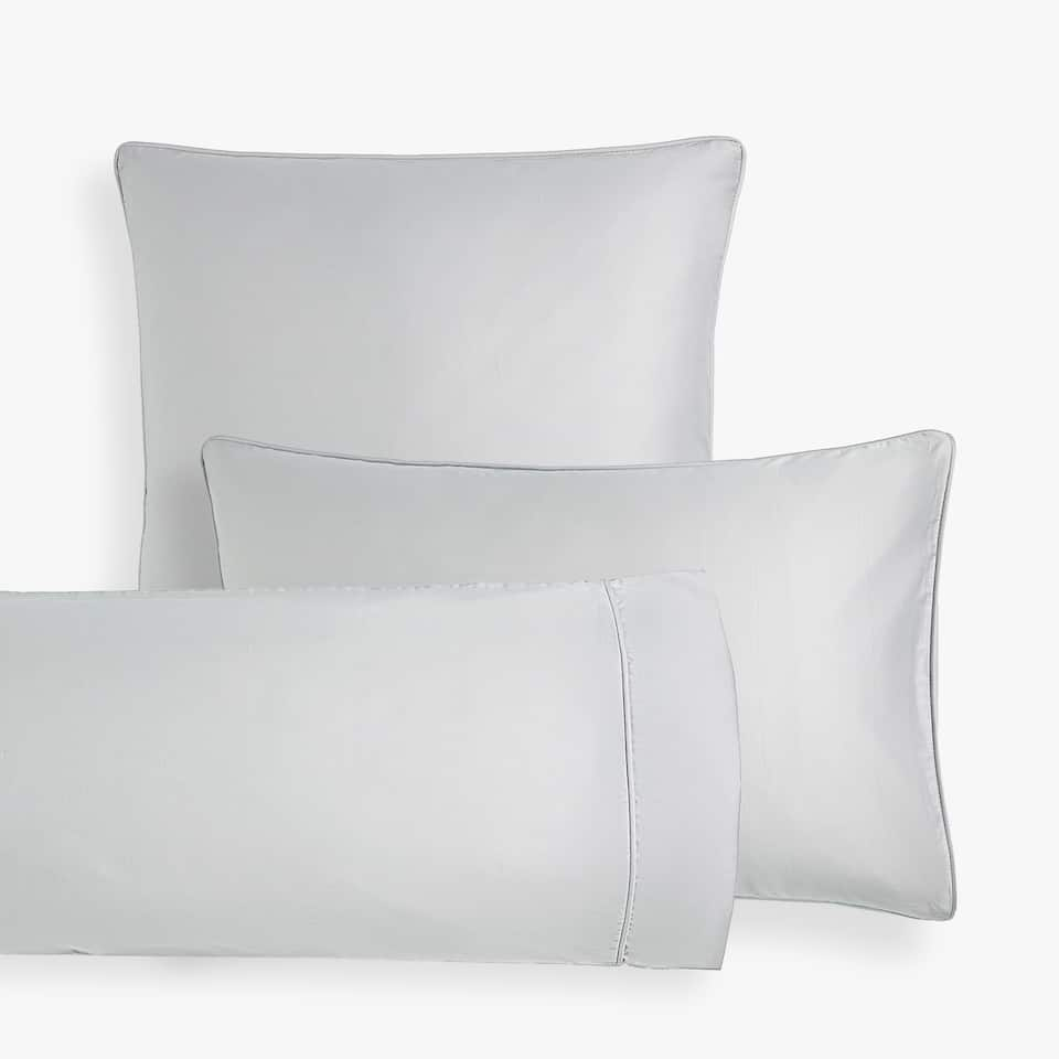 GREY SATEEN PILLOWCASE WITH PIPING