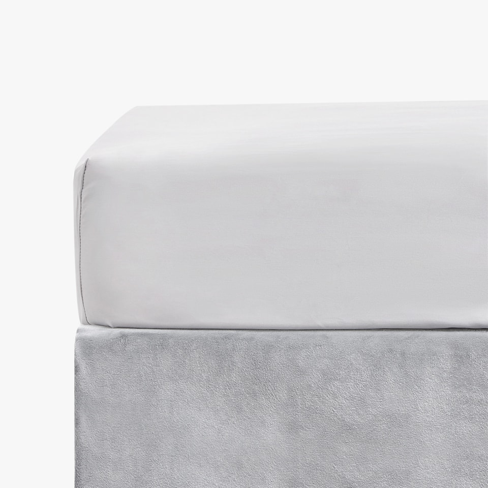 GREY SATEEN FITTED SHEET
