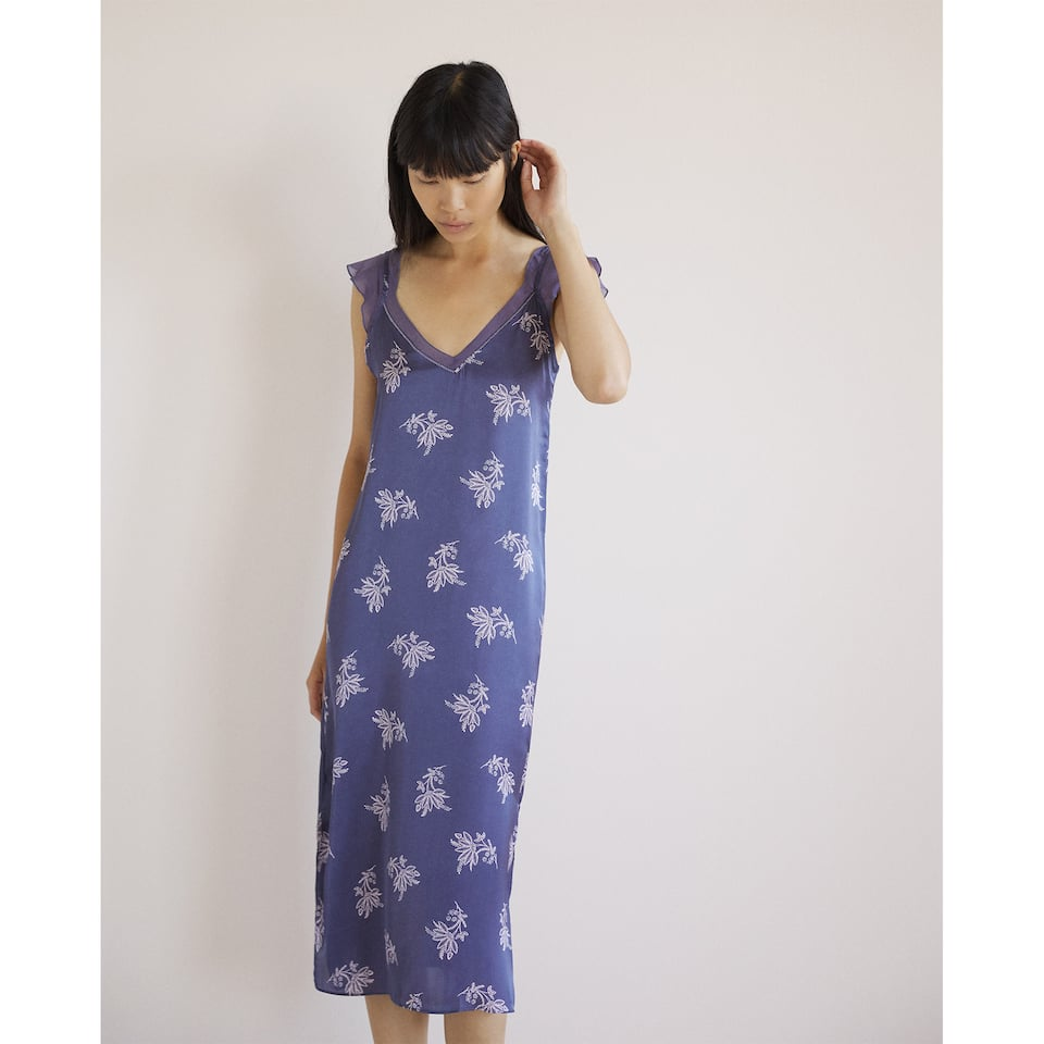 PRINTED SATEEN NIGHTGOWN