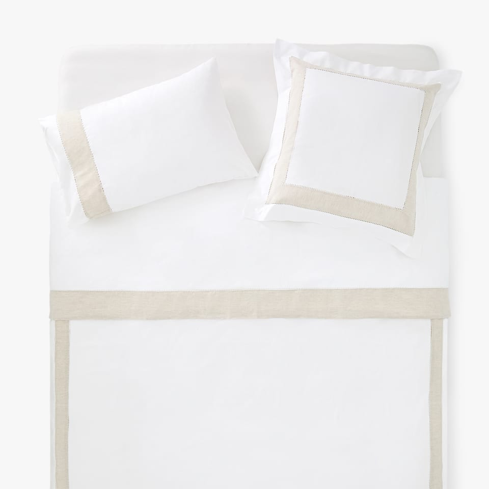 COTTON DUVET COVER WITH CONTRASTING LINEN BAND