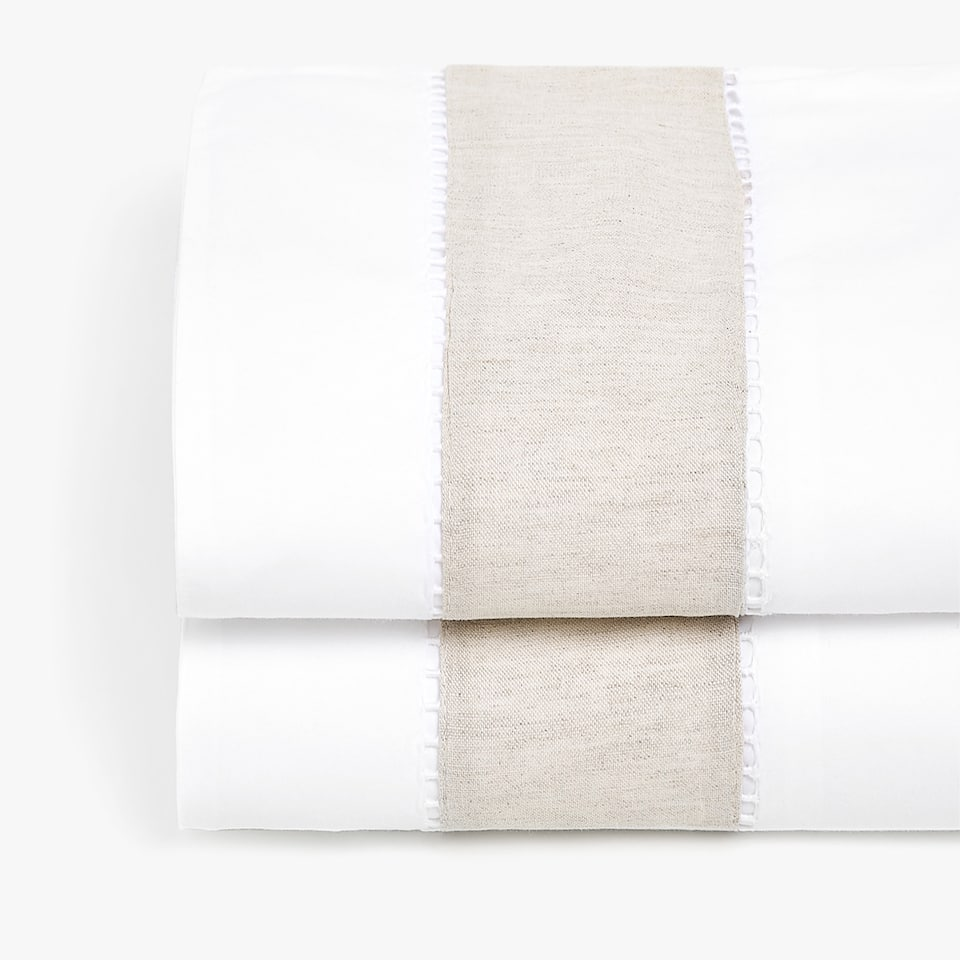 COTTON TOP SHEET WITH CONTRASTING LINEN BAND