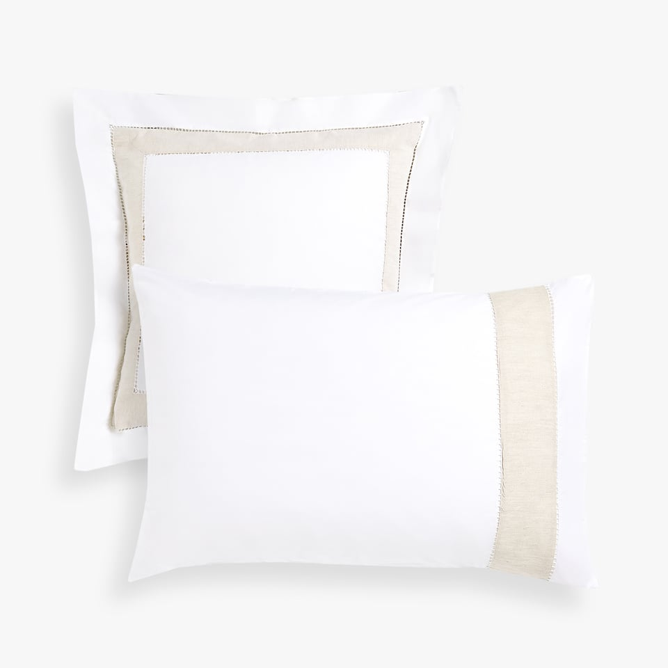 COTTON PILLOWCASE WITH CONTRASTING LINEN BAND