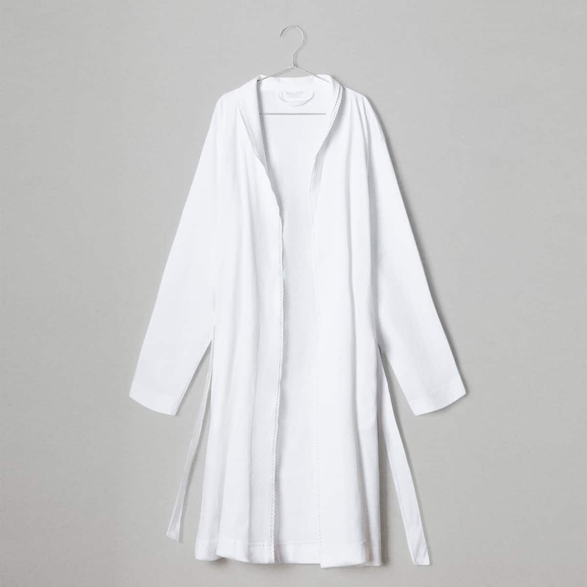 COTTON DRESSING GOWN WITH LACE TRIM - DRESSING GOWNS - WOMEN\'S ...