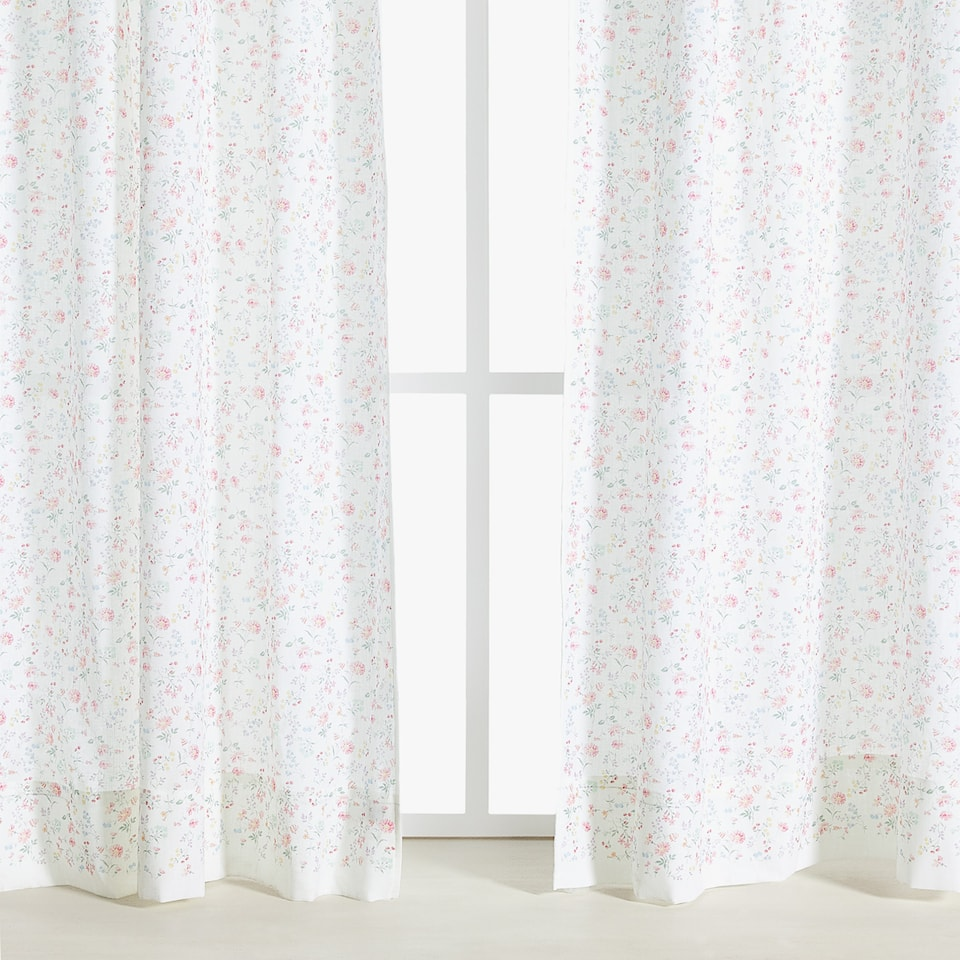 FLORAL PRINT COTTON CURTAIN