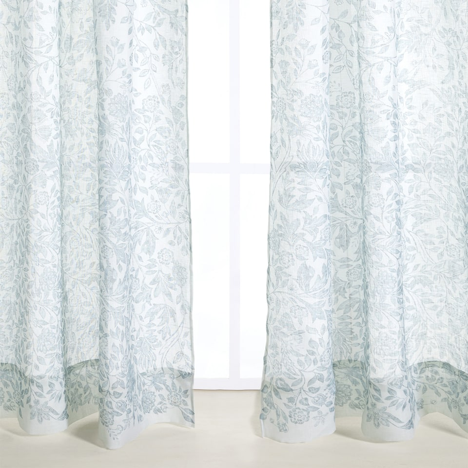 LEAF PRINT LINEN CURTAIN