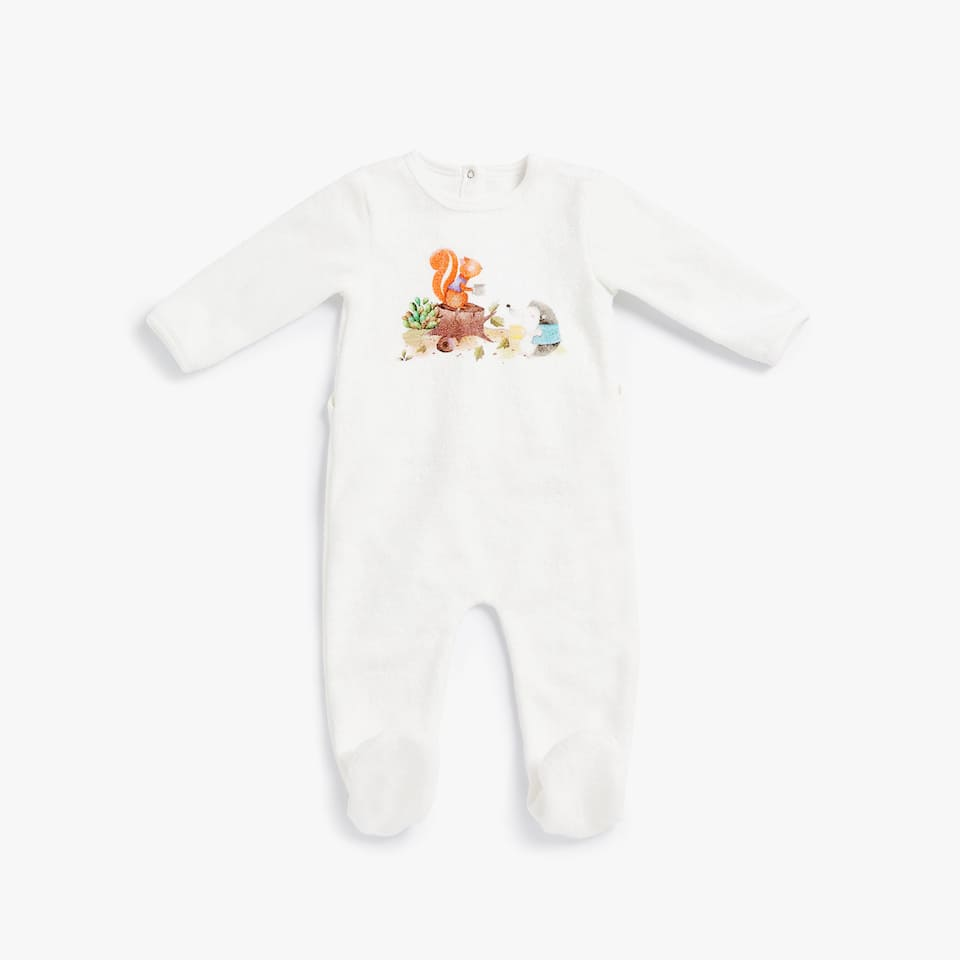 PRINTED COTTON TERRYCLOTH ROMPER SUIT