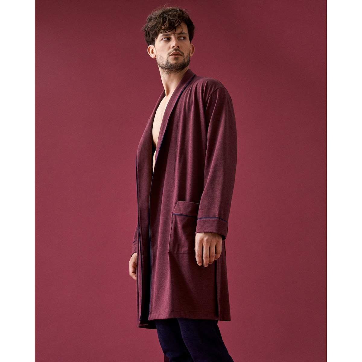 DRESSING GOWN WITH BORDER - MEN\'S LOUNGEWEAR - LOUNGEWEAR | Zara ...