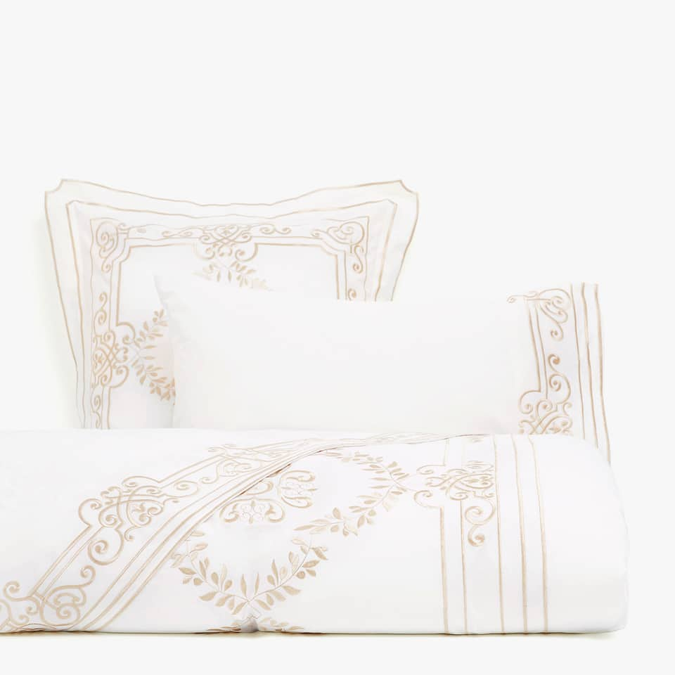White duvet cover with lace insert