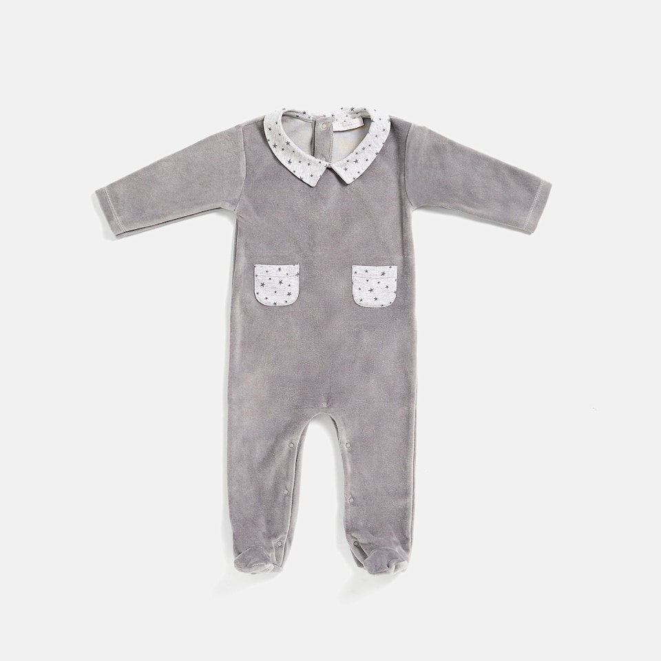 VELOUR ROMPER SUIT WITH CONTRASTING COLLAR