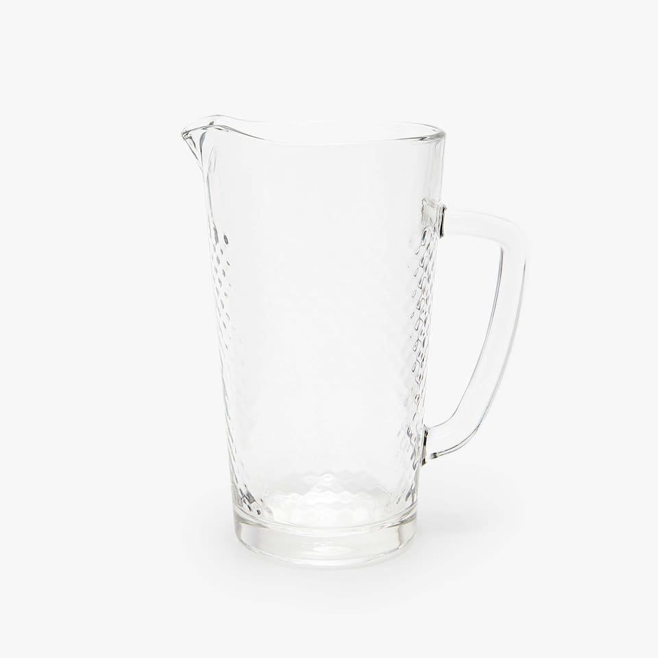 RAISED DESIGN GLASS PITCHER