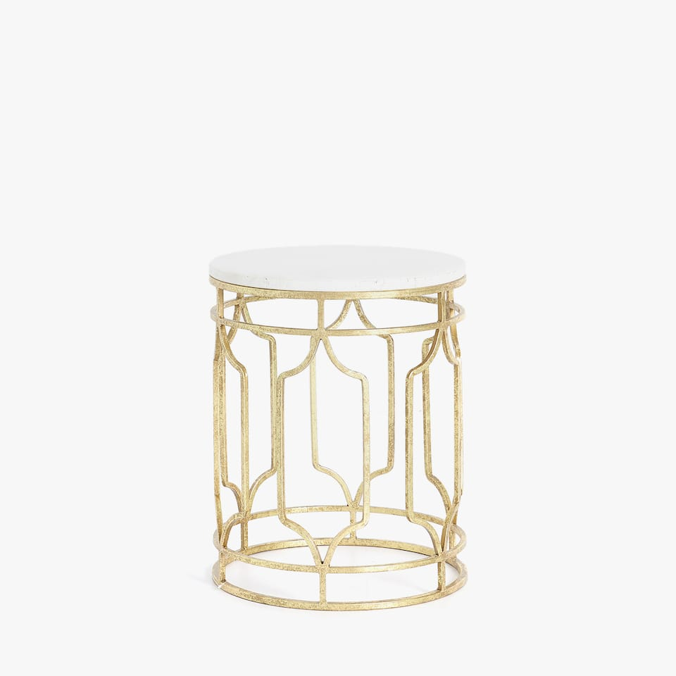 MARBLE TABLE WITH GOLDEN BASE