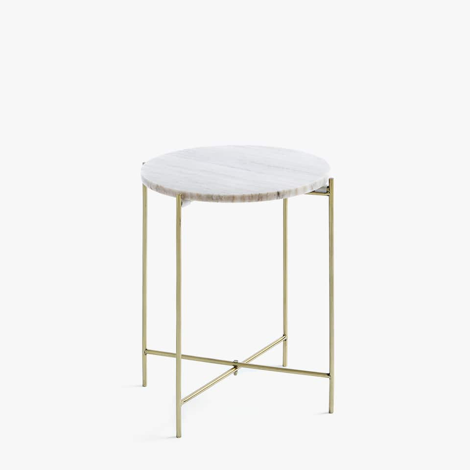GREY MARBLE TABLE WITH GOLDEN LEGS