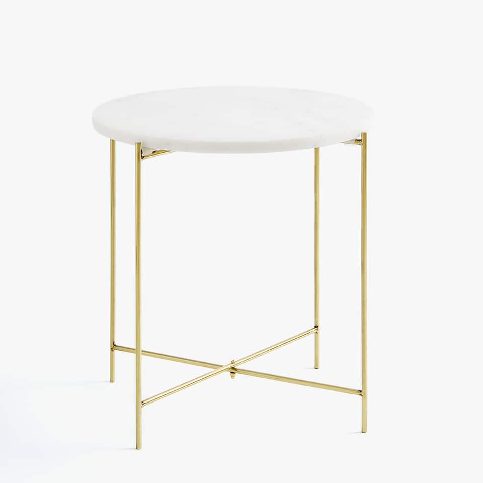 WHITE MARBLE TABLE WITH GOLDEN LEGS