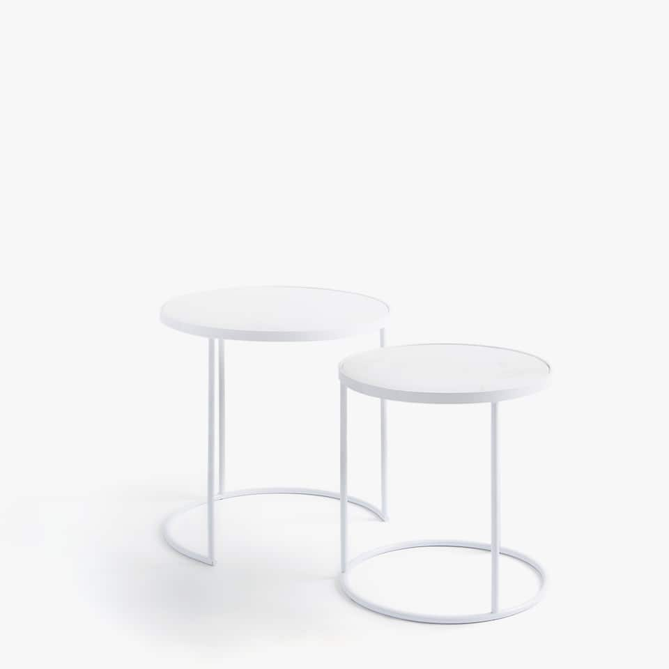 MARBLE NESTING TABLES WITH WHITE STRUCTURE (SET OF 2)