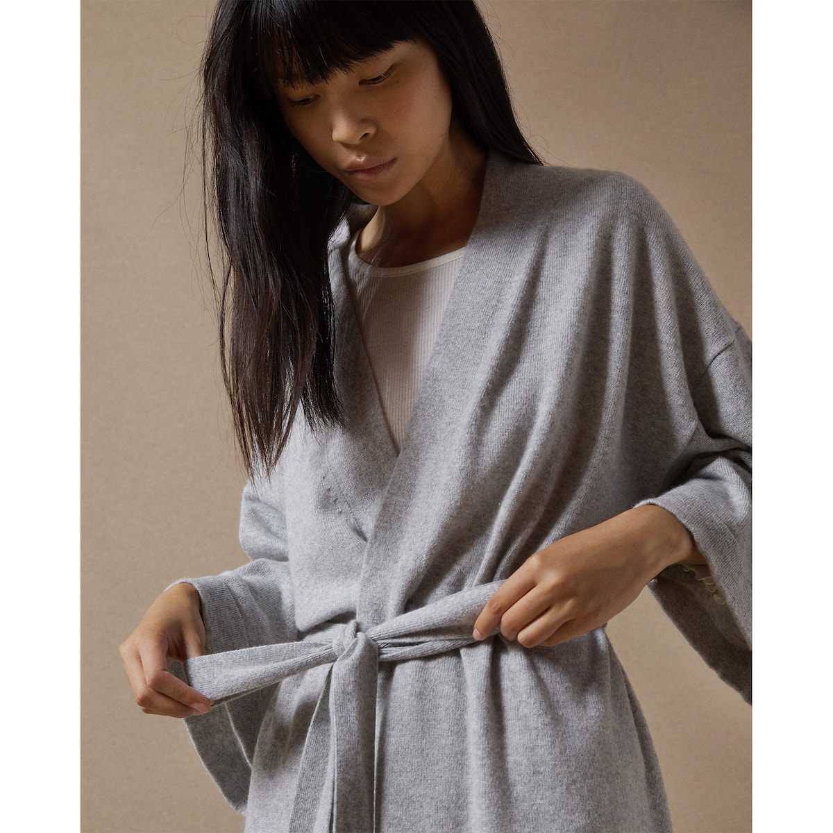 CASHMERE DRESSING GOWN WITH BELT - DRESSING GOWNS - WOMEN\'S ...