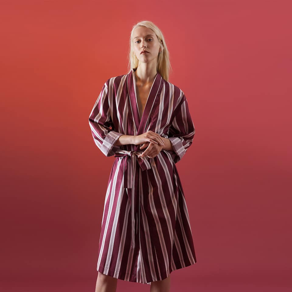 STRIPED SATEEN ROBE