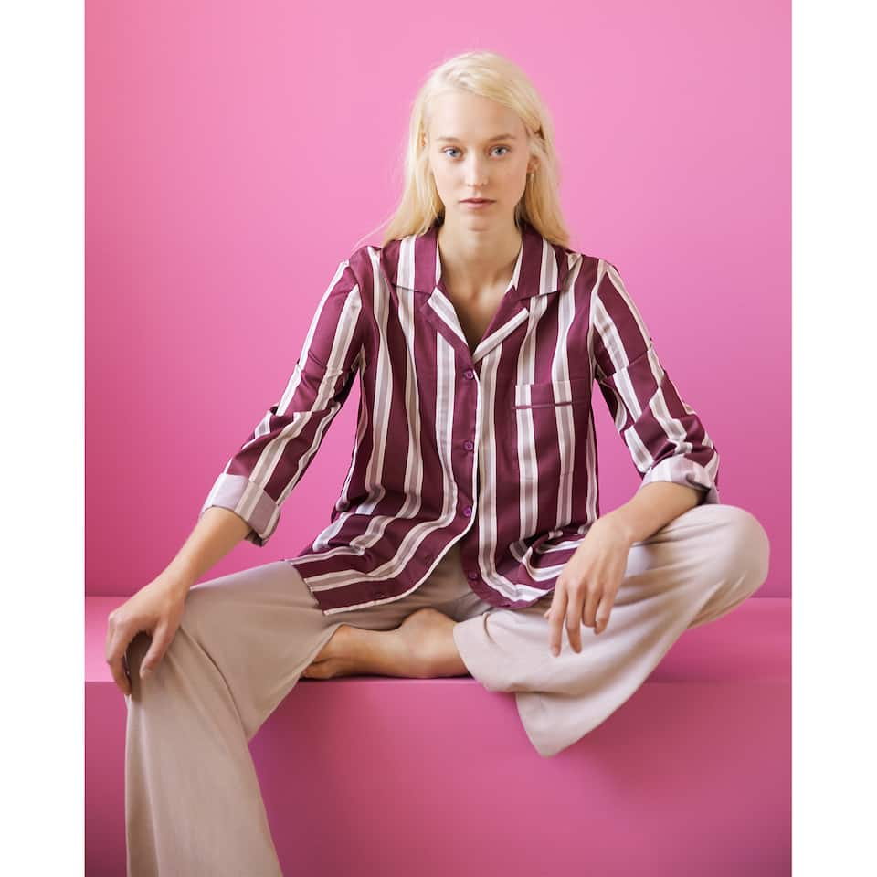 STRIPED SATEEN SHIRT