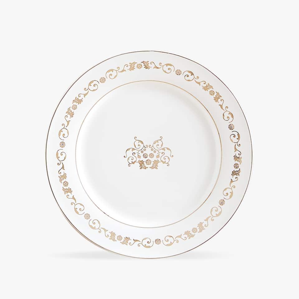 Mělký talíř se zlatým potiskem