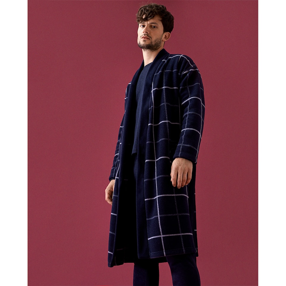JACQUARD FLEECE DRESSING GOWN