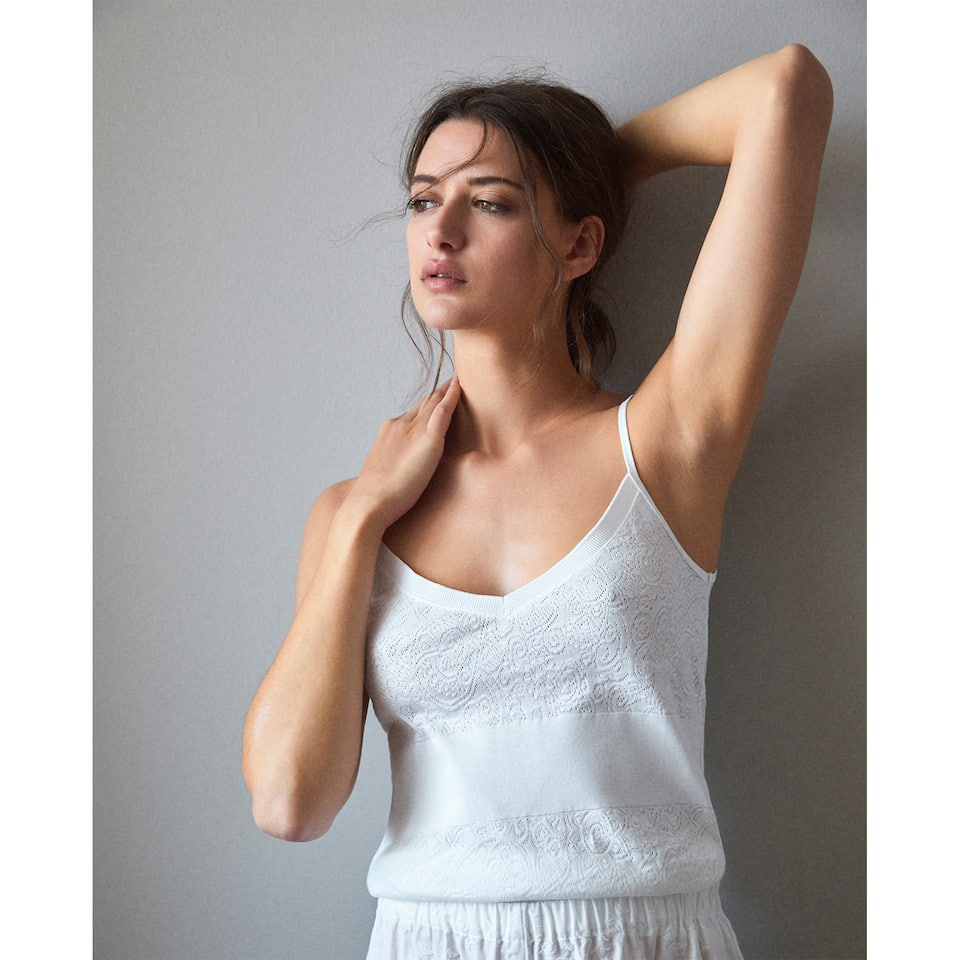 KNIT TOP WITH STRAPS