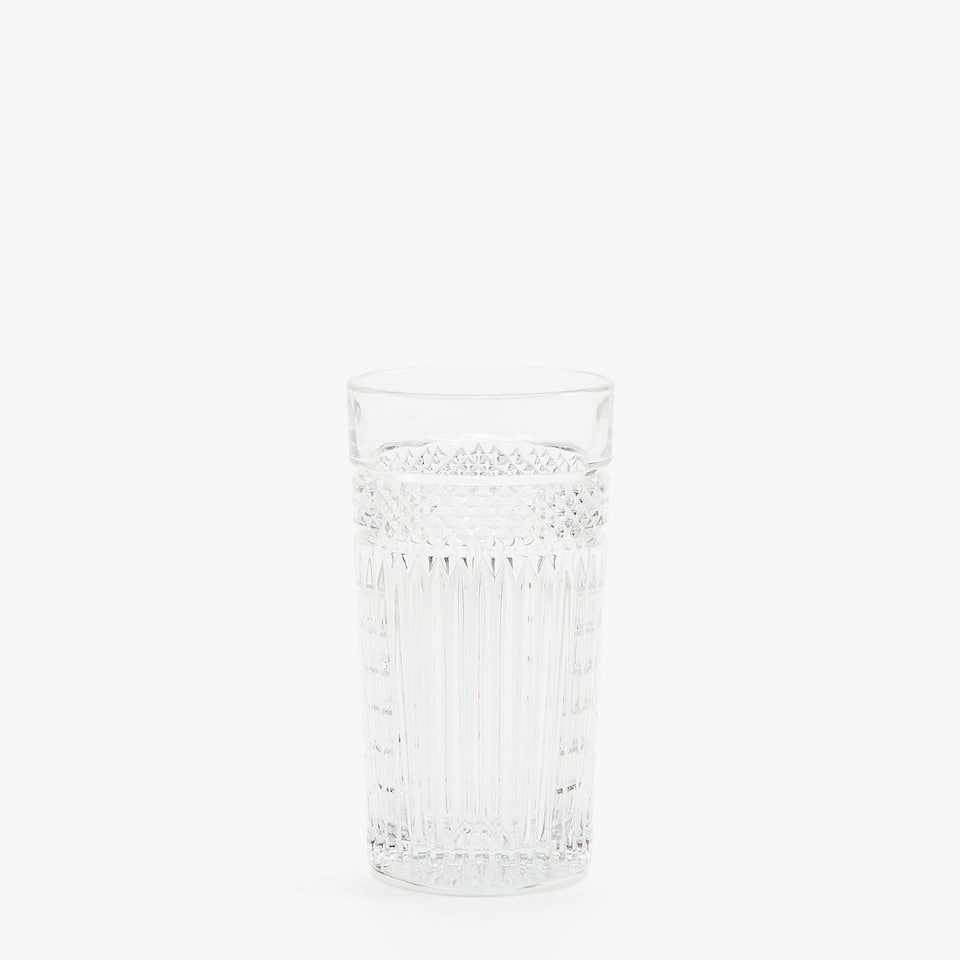 RAISED-DESIGN GLASS SOFT DRINK TUMBLER