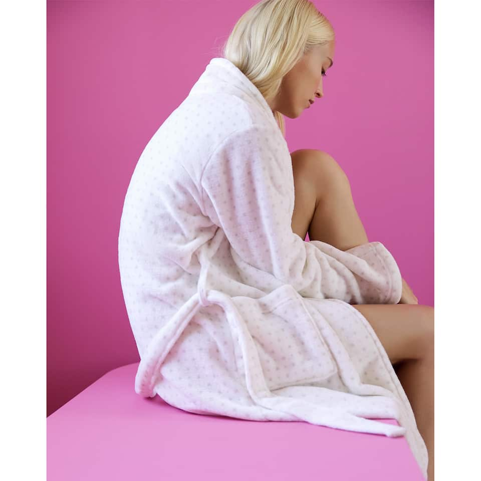 POLKA DOT FLEECE DRESSING GOWN