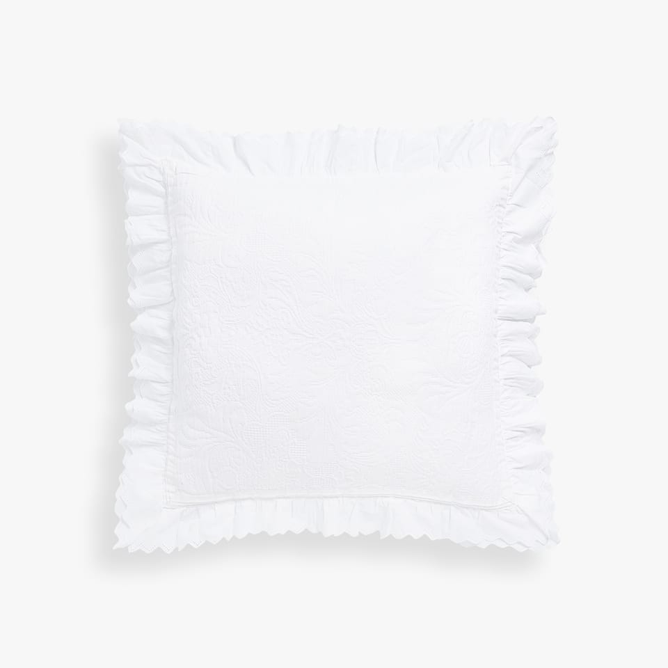 COTTON CUSHION COVER WITH DOUBLE FRILL