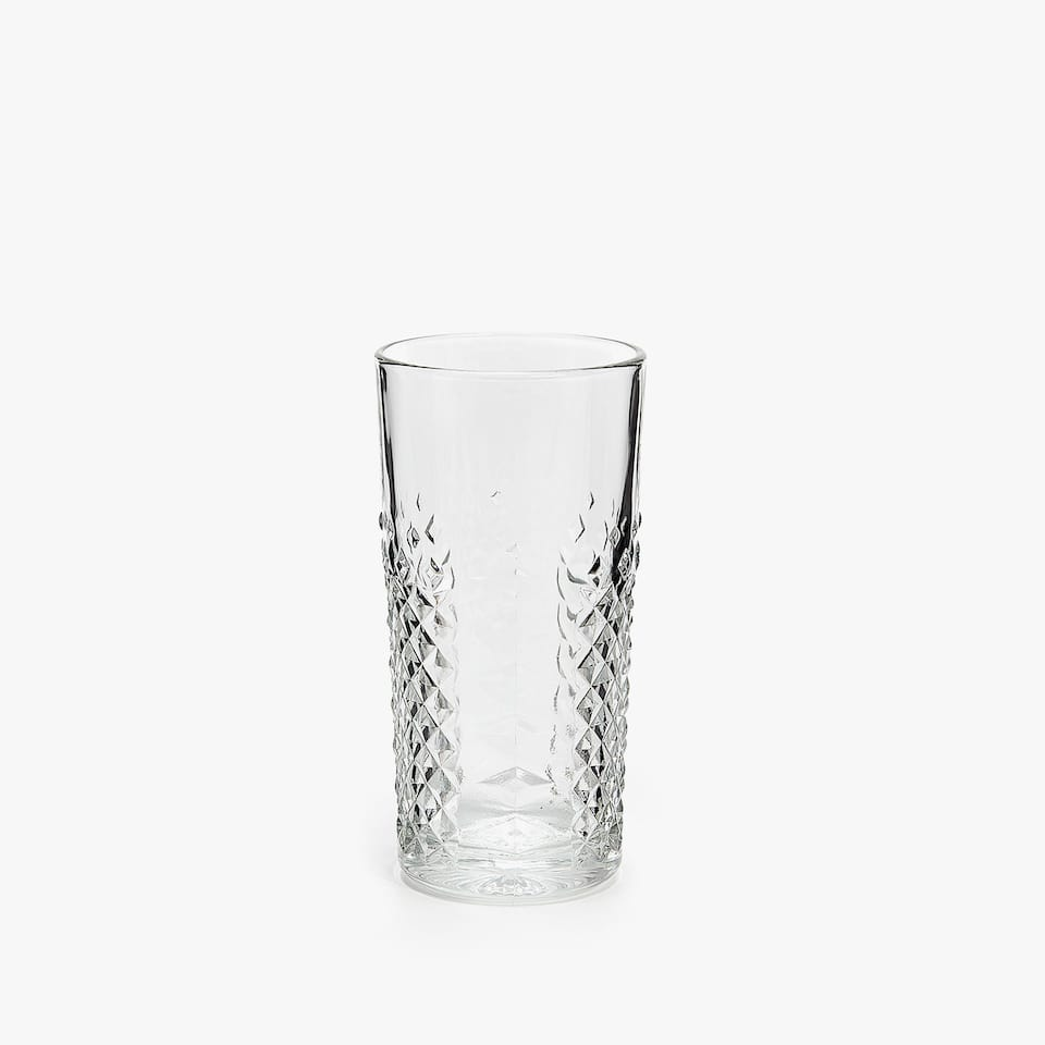 GLASS SOFT DRINK TUMBLER WITH RAISED DIAMOND DESIGN