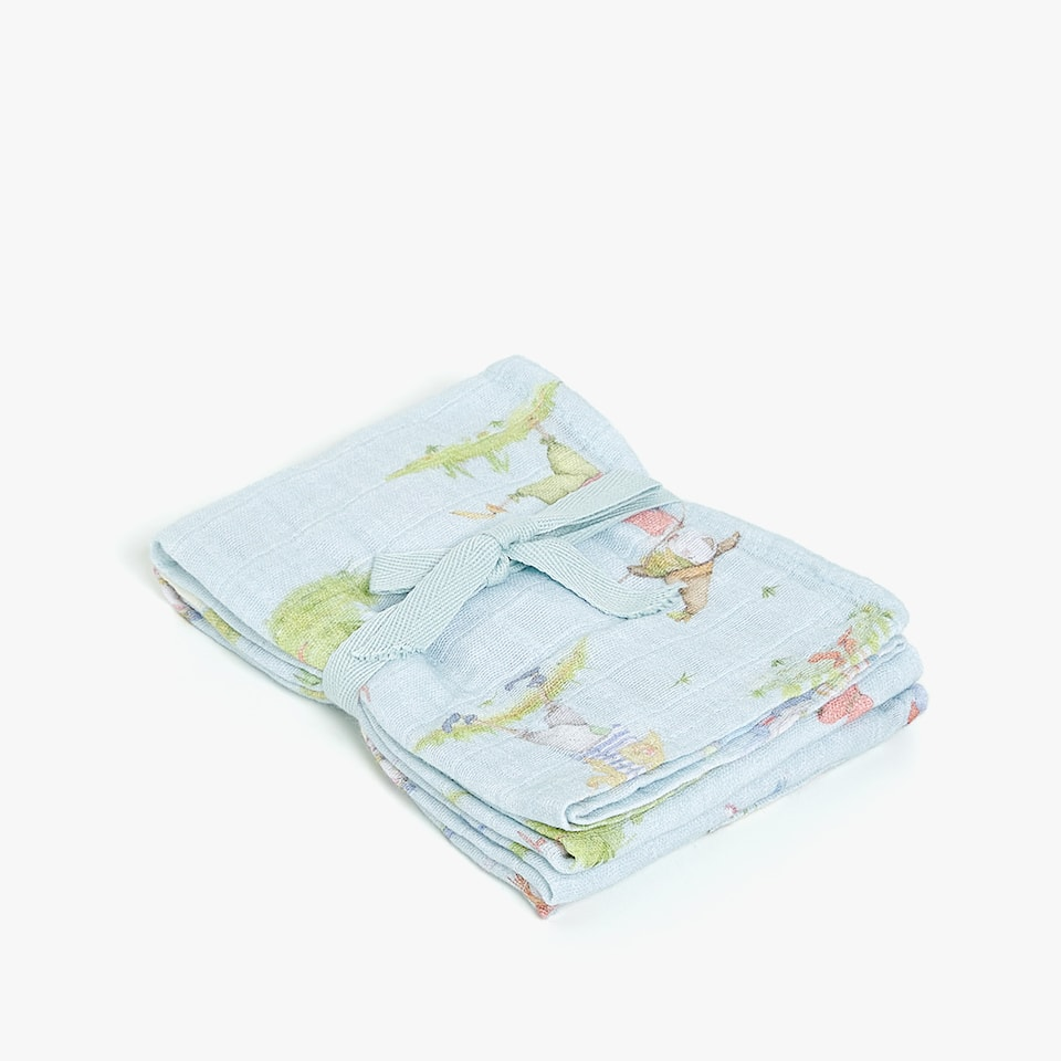 SCARECROW PRINT MUSLIN CLOTHS (SET OF 2)