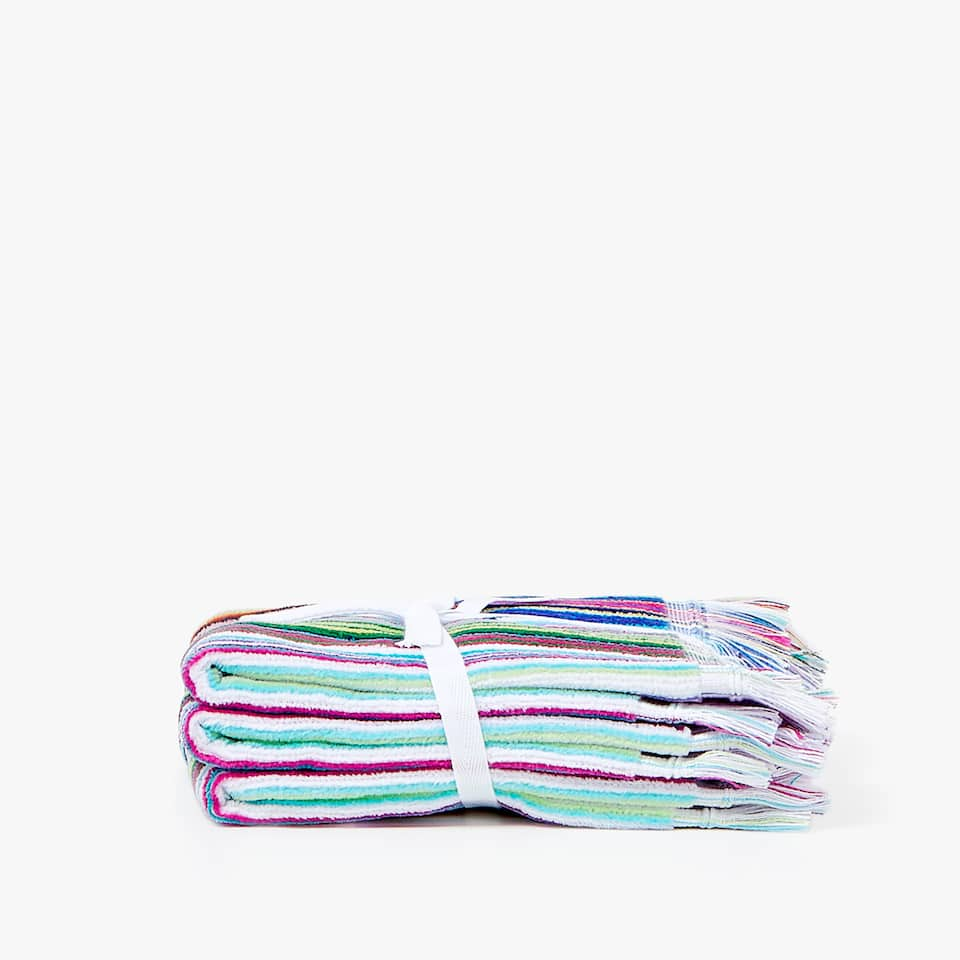 SERVIETTE DE BAIN VELOURS RAYURES MULTIPLES (LOT DE 2)