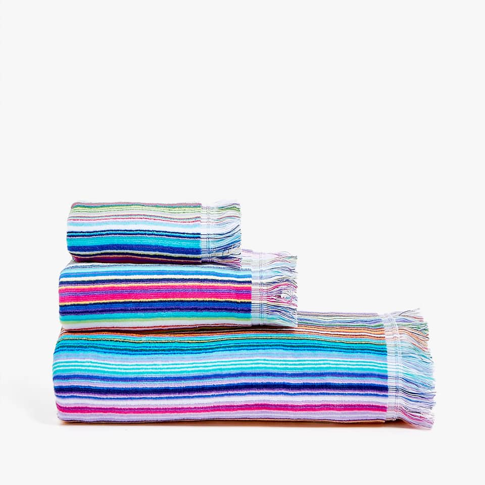 MULTI-STRIPED VELVET TOWEL