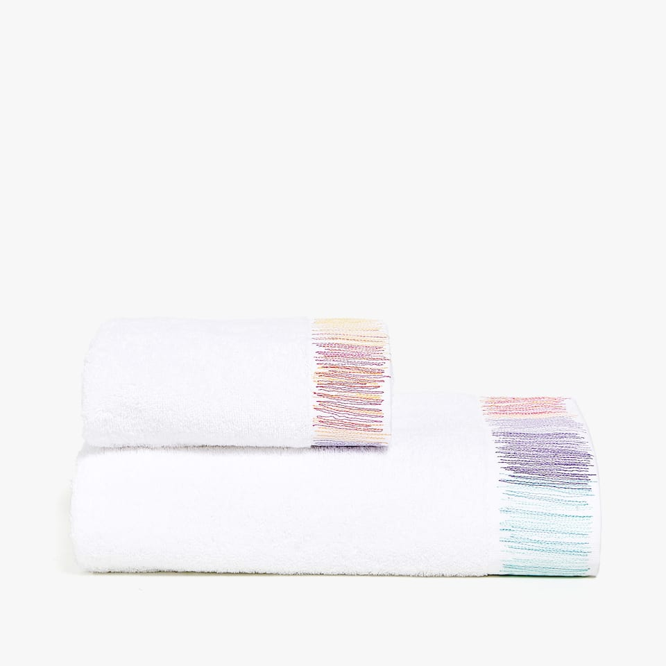 MULTICOLOURED EMBROIDERED TOWEL