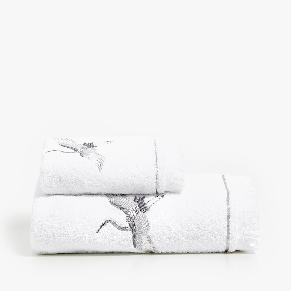 EMBROIDERED HERON TOWEL