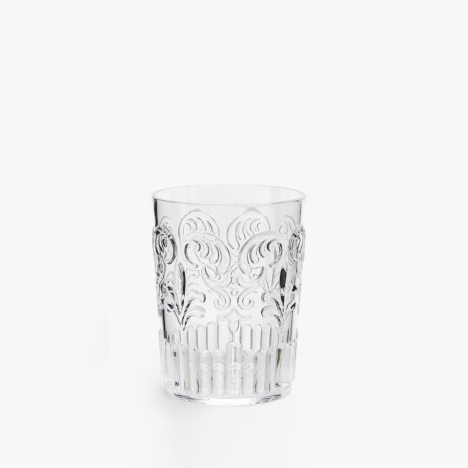RAISED DESIGN TRANSPARENT TUMBLER