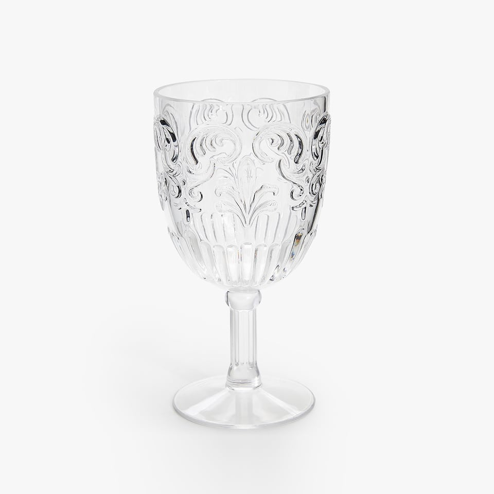 RAISED DESIGN TRANSPARENT WINE GLASS