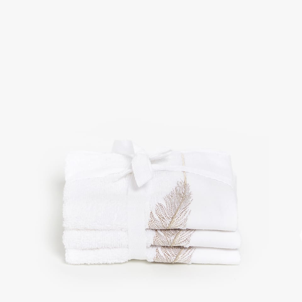 EMBROIDERED FEATHER TOWEL (SET OF 3)