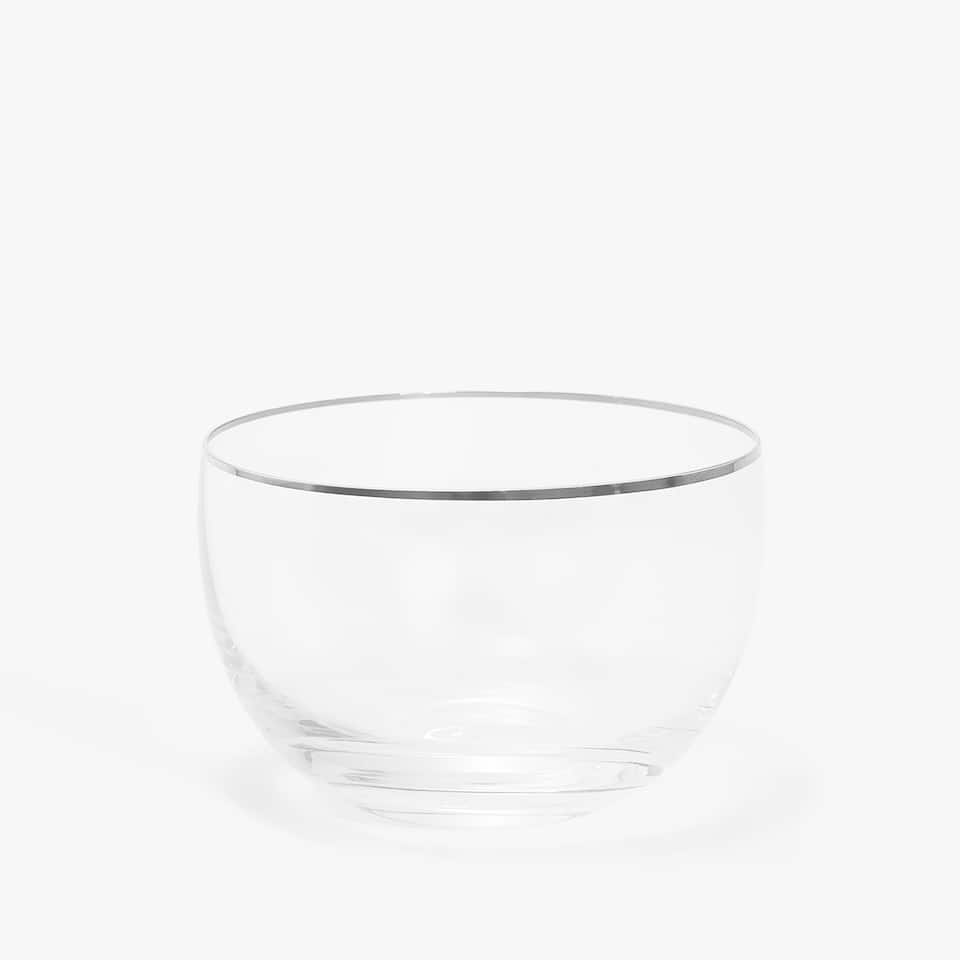 METAL-RIMMED GLASS BOWL