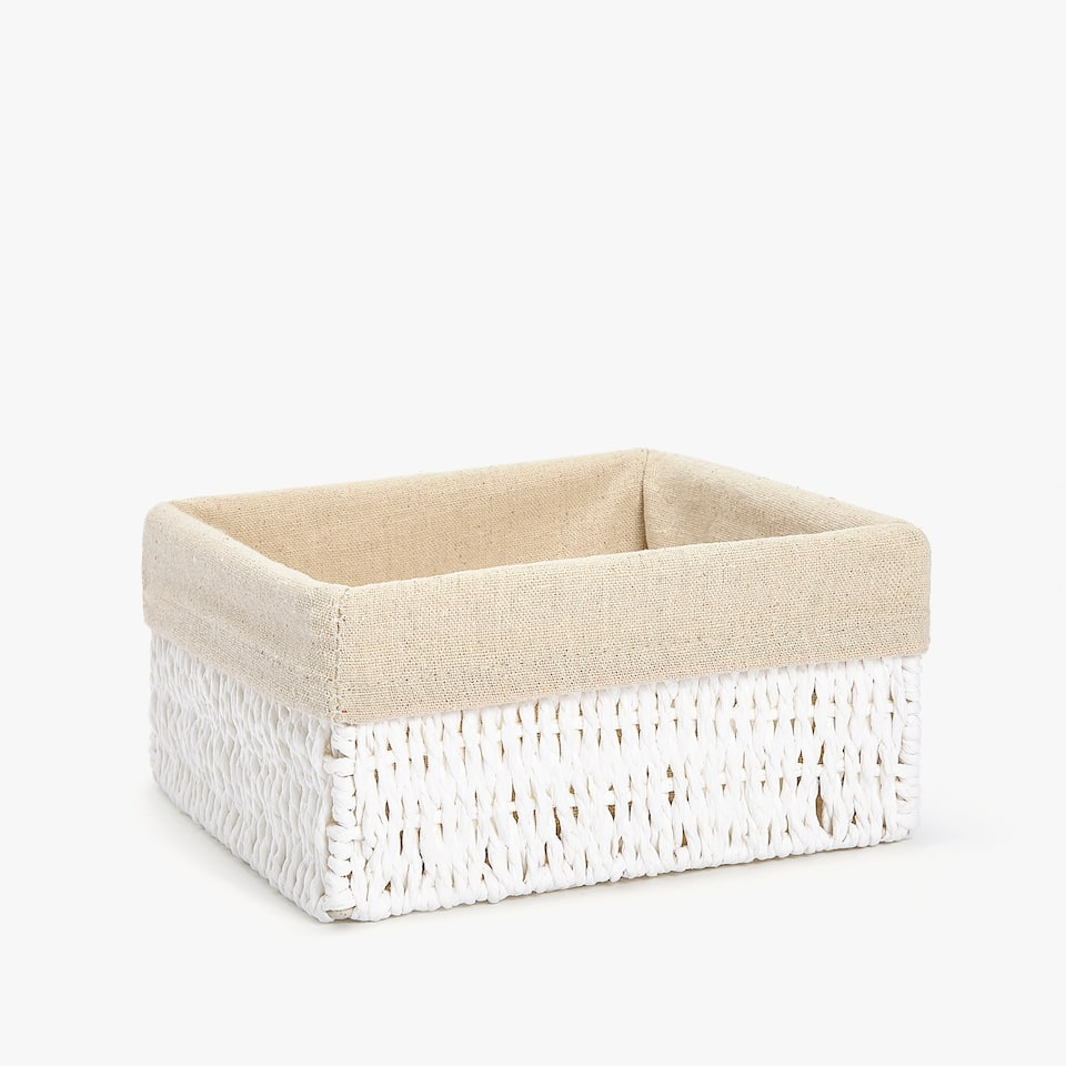 SQUARE FABRIC-LINED BASKET