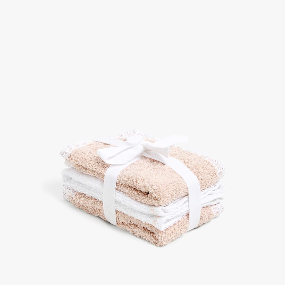 SERVIETTE DE BAIN À DENTELLE (LOT DE 3)