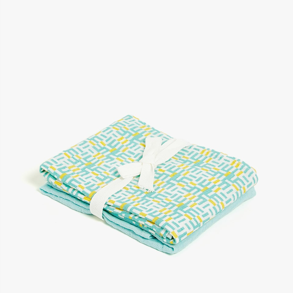 GEOMETRIC PRINT MUSLIN (SET OF 2)