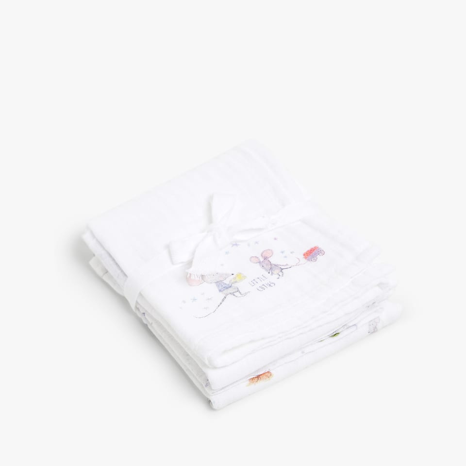 LITTLE MOUSE PRINT MUSLIN (SET OF 2)