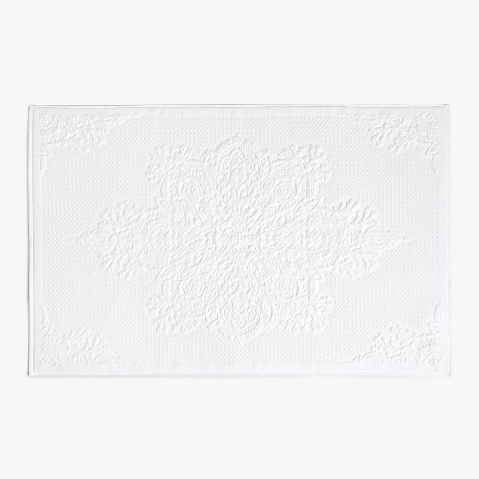 LARGE JACQUARD COTTON BATH MAT