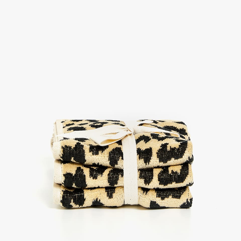 LEOPARD PRINT JACQUARD TOWEL (SET OF 3)