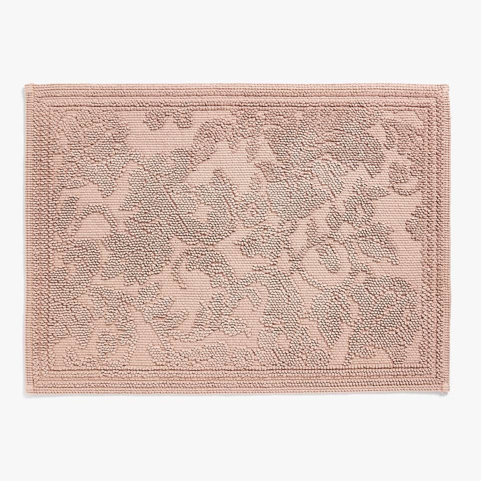 REVERSIBLE FLORAL COTTON BATH MAT
