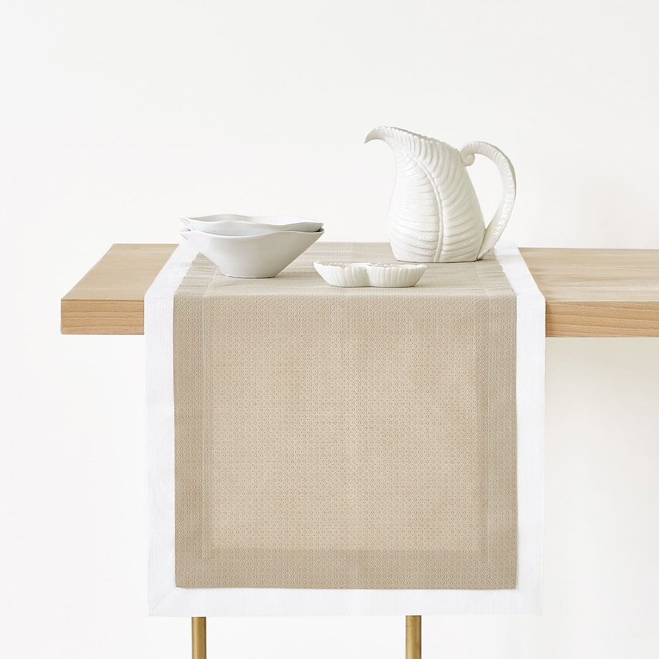 DOUBLE LAYER TEXTURED WEAVE LINEN AND COTTON TABLE RUNNER
