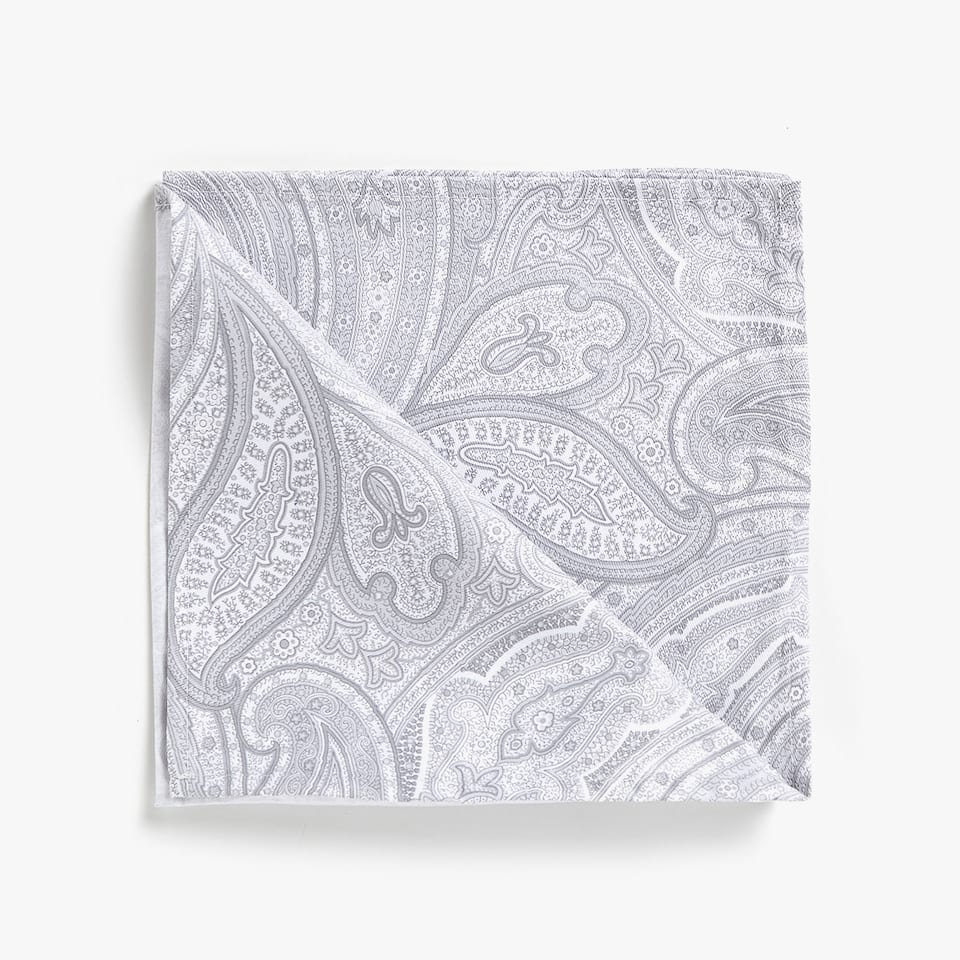 GREY PAISLEY PRINT COTTON NAPKINS (SET OF 4)